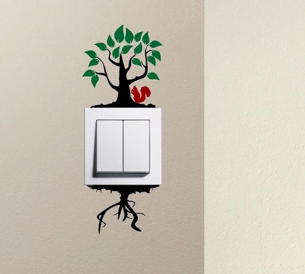Baum Squirrel Lichtschalter Aufkleber An Der Wand