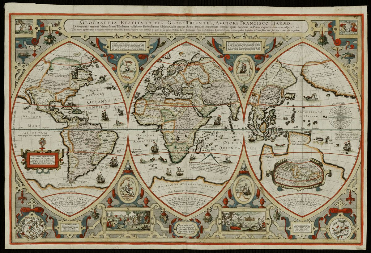 Geographica restituta per globi trientes by franciscus verhaer 1618 find this pin and more on archeologie old map of the world gumiabroncs Gallery