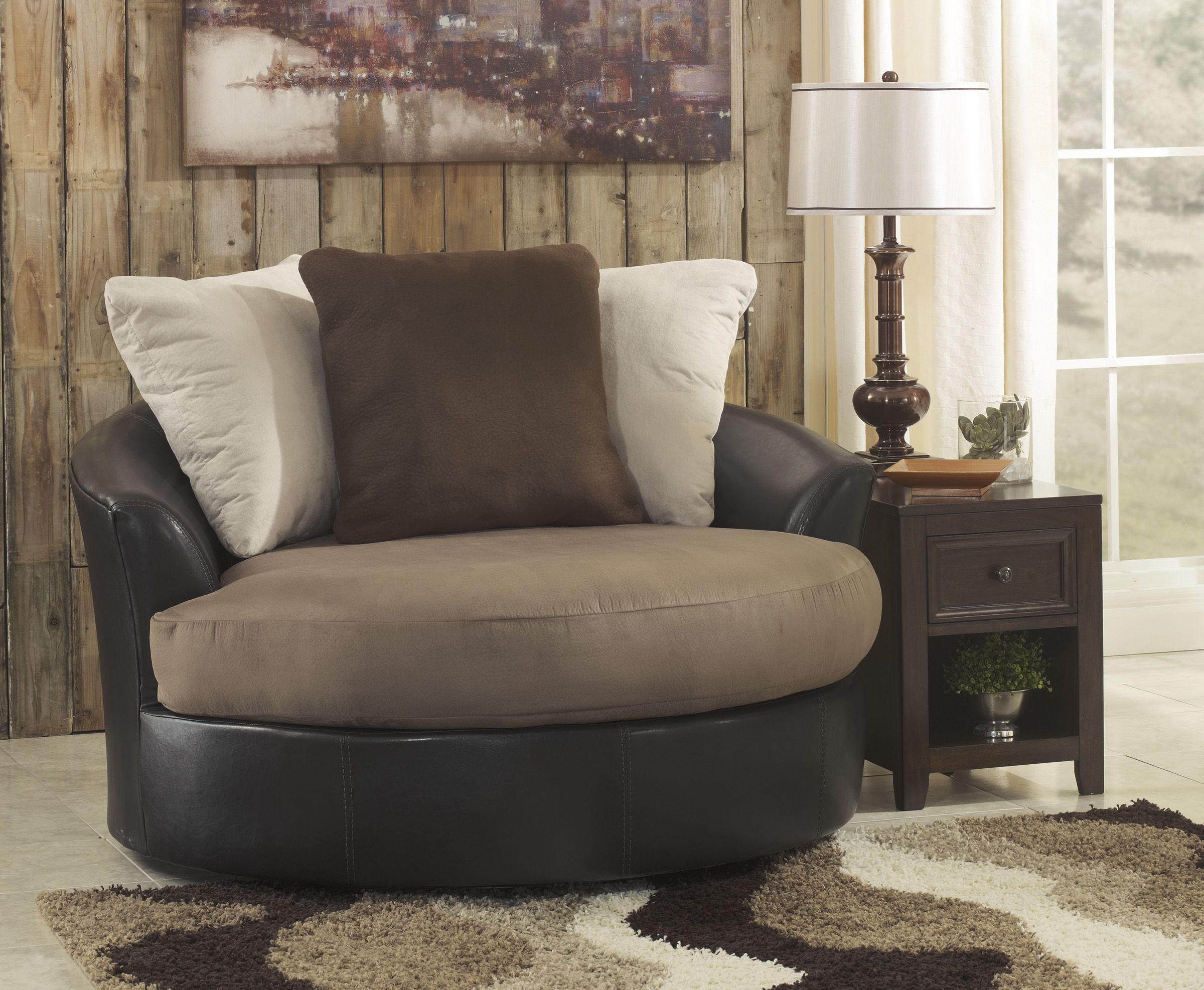 "Masoli Mocha OVERSIZED 58"" swivel chair"