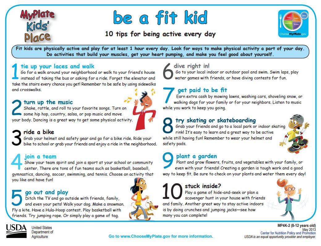 Activity Sheet From Myplate Be A Fit Kid