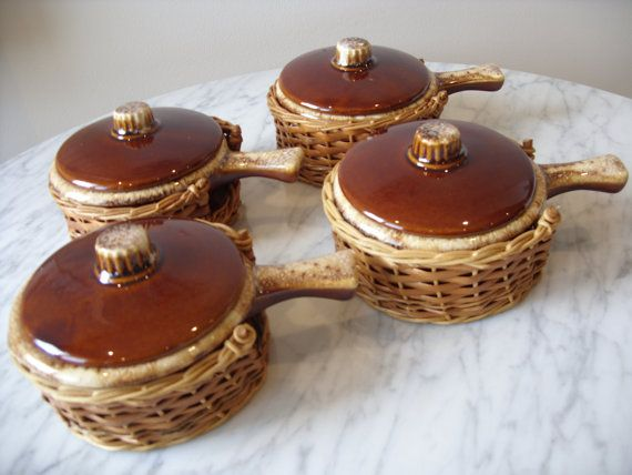 Vintage Brown Drip Hull Pottery Soup Bowls With by orchard8retro