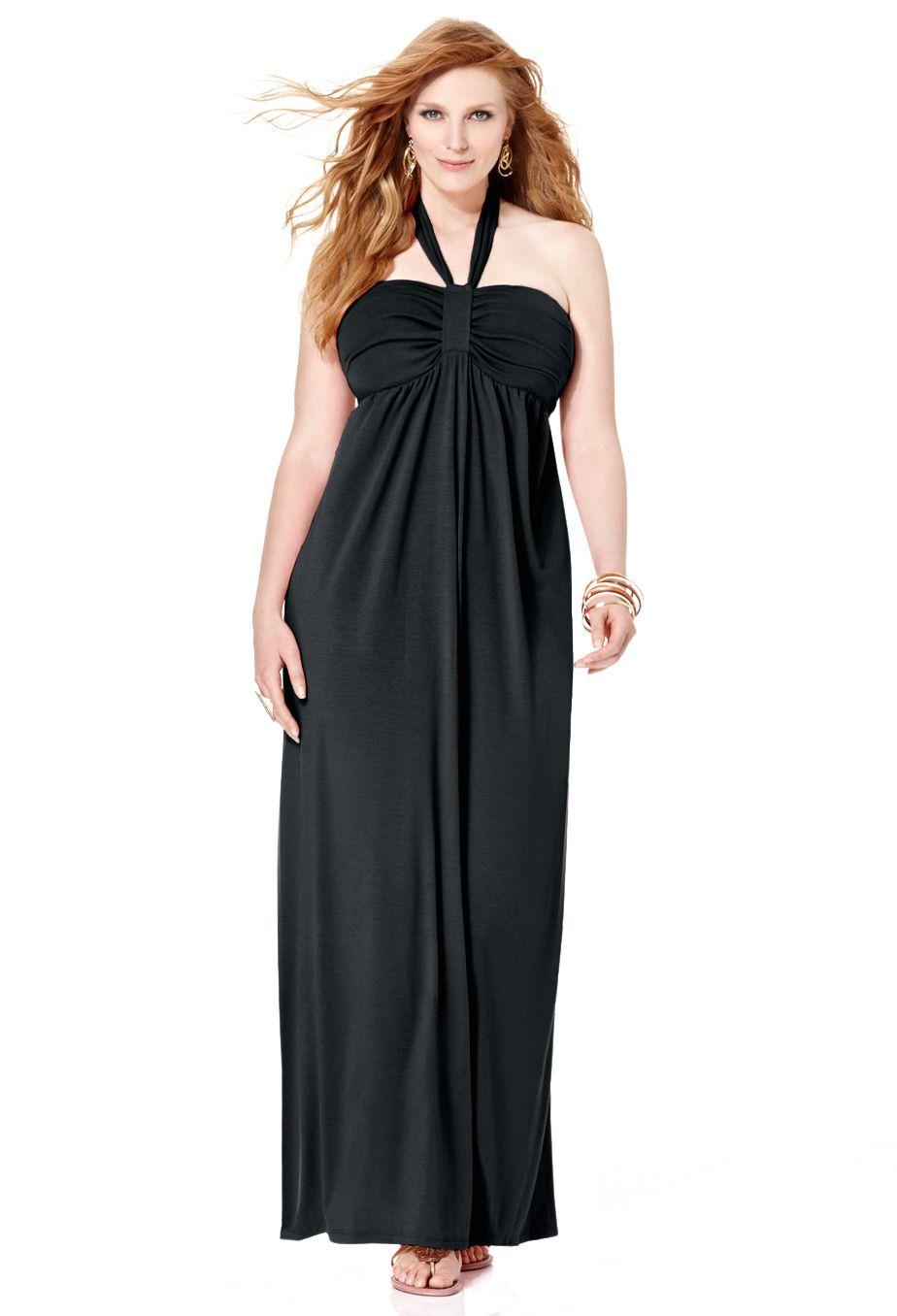 plus size black halter maxi dress | plus size maxi dresses
