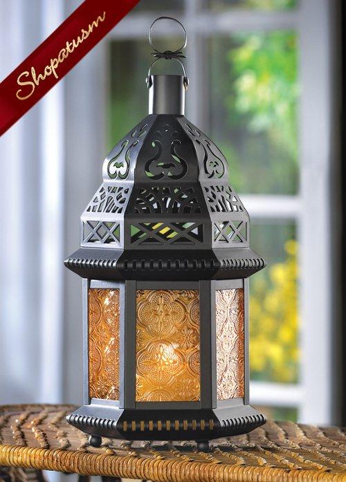12 Wholesale Lanterns Yellow Amber Glass Moroccan Candle Lantern Bulk Lot Moroccan Candles Wholesale Lanterns Candle Lanterns