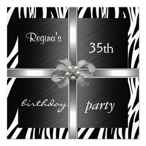Invitation Elegant 35th Birthday Animal Zebra Custom Invite