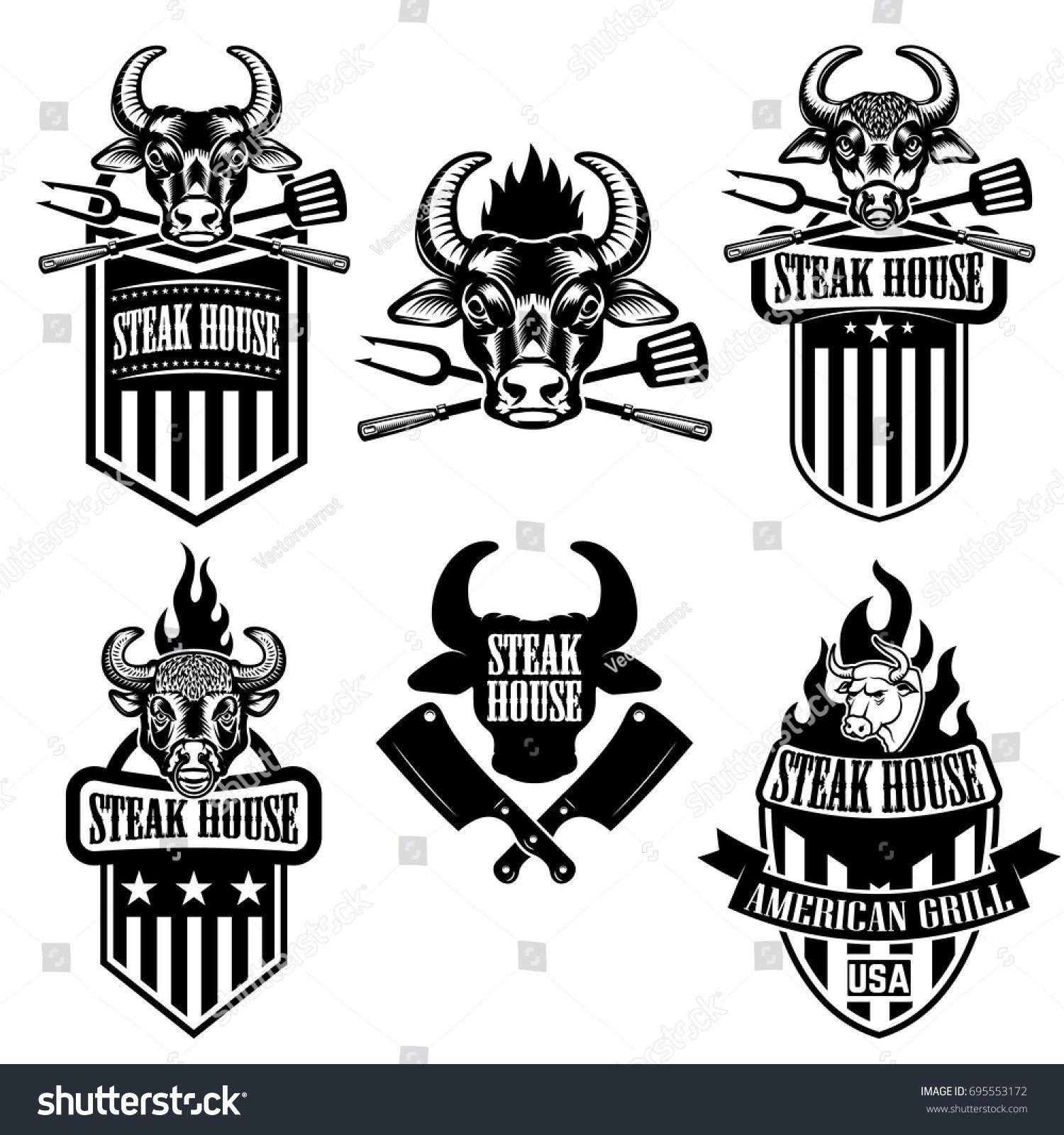 Kitchen Set Node Attributes: Steak House. Set Of The Emblems With Kitchen Tools With