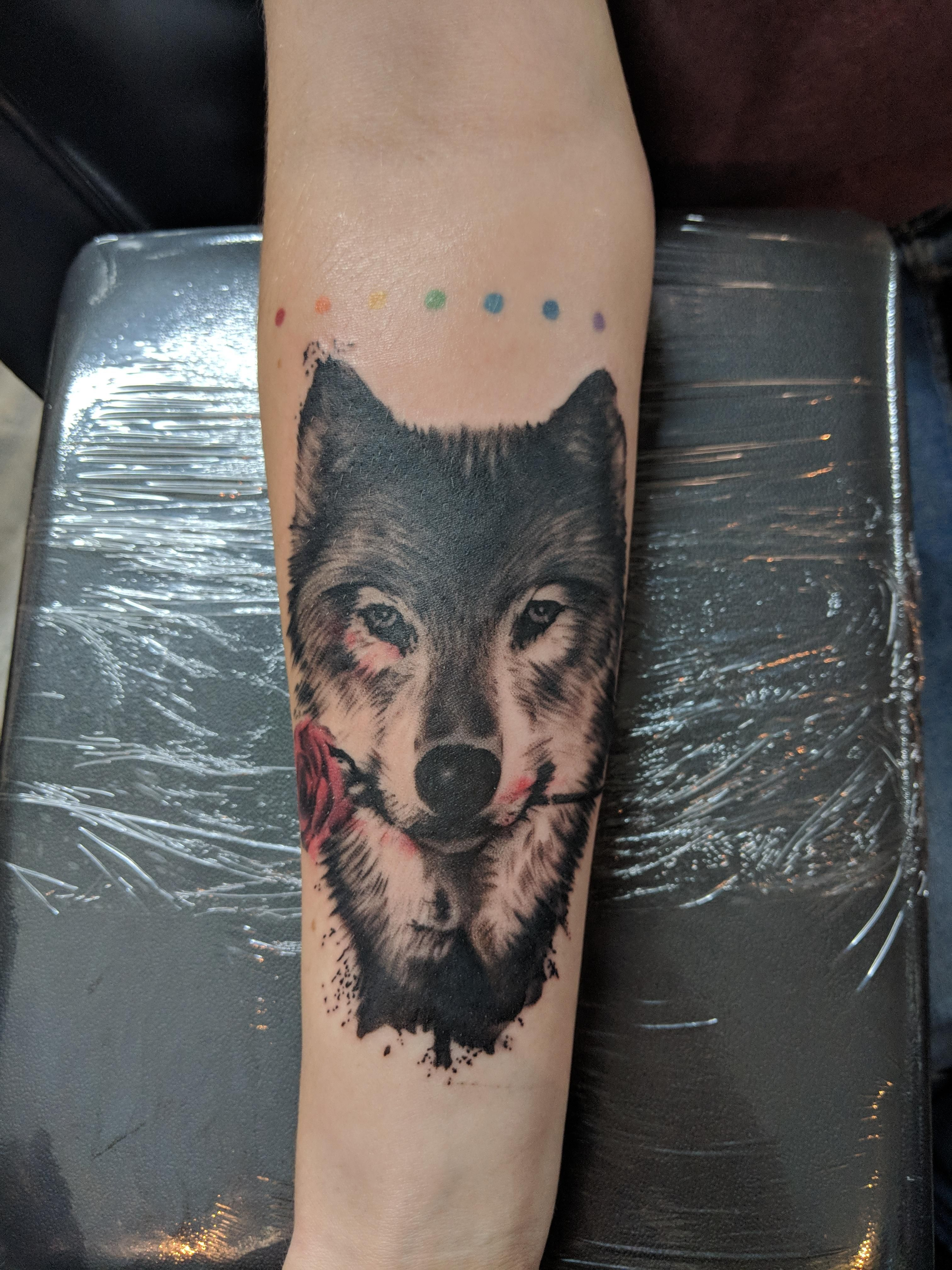 Watercolor-esque Wolf with Rose. Haylie @ Saheds of Grey. Tucson AZ ...