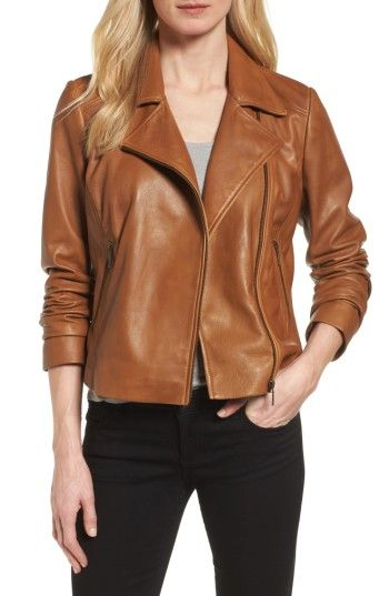 a1177129d73 Halogen® Leather Moto Jacket. Love the color - more of a butterscotch than  a camel. Good leather quality in person!
