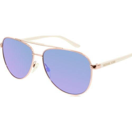 33d378f3991b Michael Kors MK5007 Hvar Aviator Sunglasses, 59mm, Women's, Size: Size:  Lens-59 Bridge-14 Temple-135mm, Rose Gold