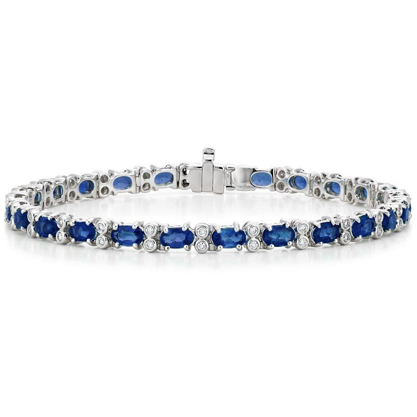 18k White Gold Azura Sapphire And Diamond Bracelet 1 2 Ct Tw In 2020 Diamond Bracelet Tennis Bracelet Diamond White Gold Sapphire