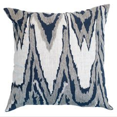 Pillows: Bandhini Home Ikat Navy Lounge Throw Pillow BAN2121IN