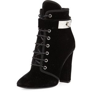 Giuseppe Zanotti Lace-Up Velvet Ankle-Buckle Boot