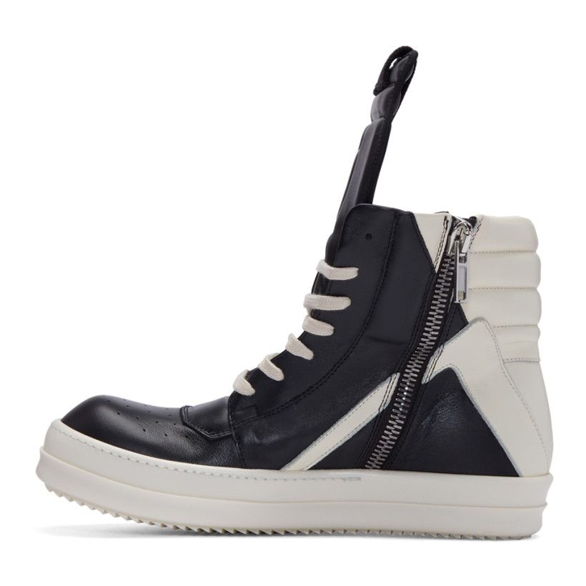 Black and Off-White Geobasket High-Top Sneakers Rick Owens m1nffi