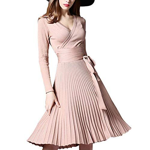 0d4770e6cc1 Midi Winter Dresses for Women Spring Pleated Knit Long Sleeve V Neck Knee  Length Surplice A-line Elegant Wrap Dress