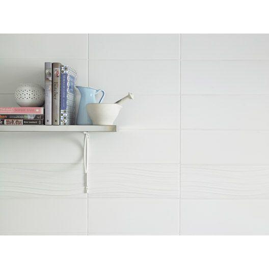 Carrelage Mural Rubix Mat Artens En Faience Blanc Blanc N 0 15 X 40 Cm Parement Mural Carrelage Mural Carrelage Mural Blanc