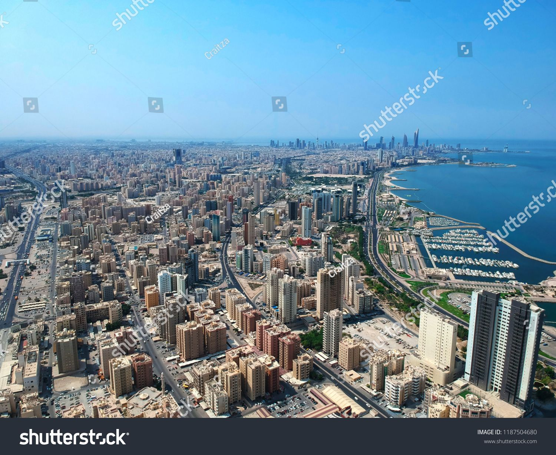 Aerial View Of The Modern Urban Landscape Of Coastal Salmiya City Kuwait Urban Landscape Aerial View Aerial