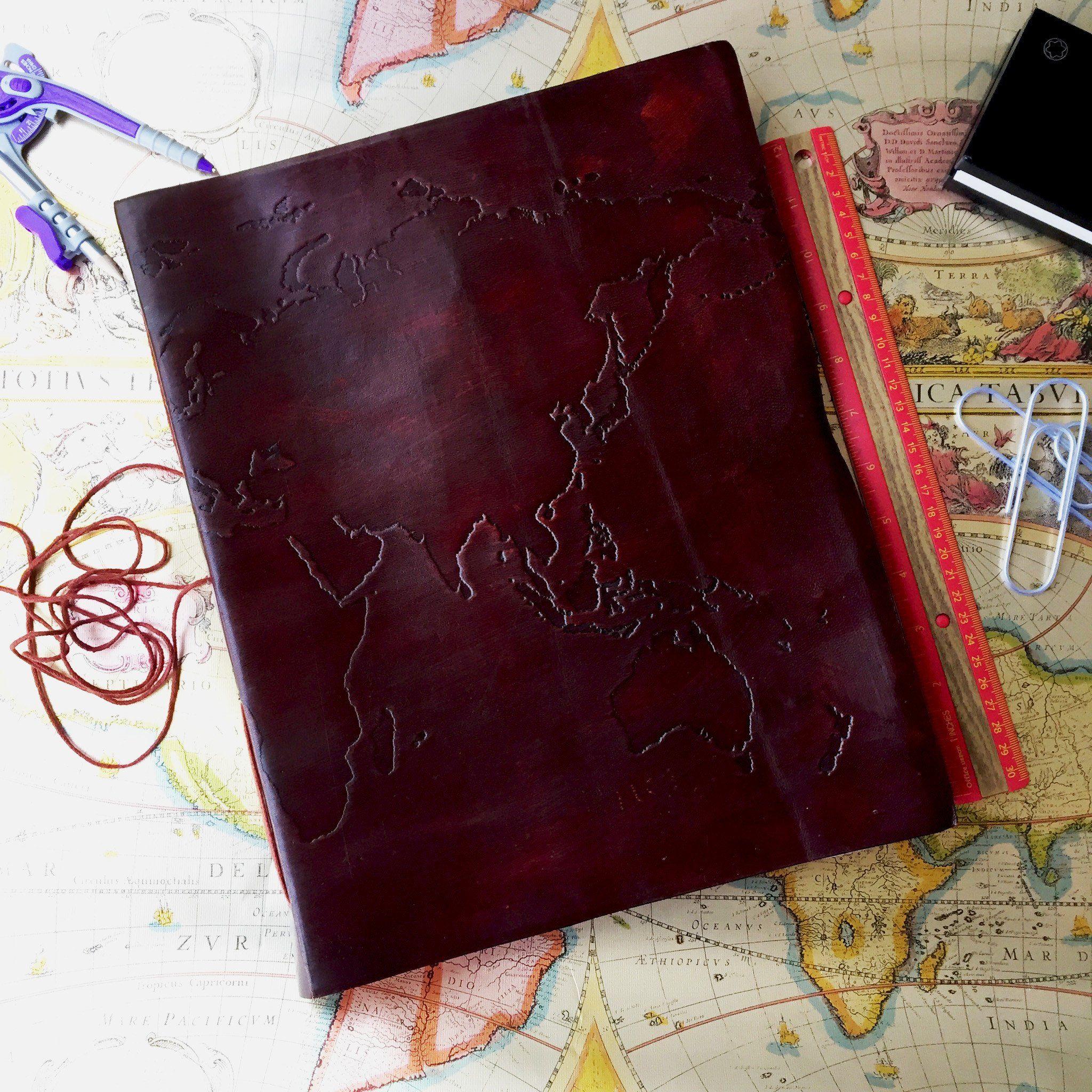 World map oversized large handmade leather journal handmade leather world map oversized large handmade leather journal gumiabroncs Choice Image