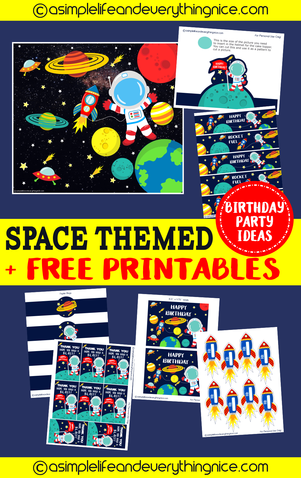 A Space Themed Birthday Party : Matthew's Outer Space 8th Birthday Party with Free Printables - A Simple Life and Everything Nice