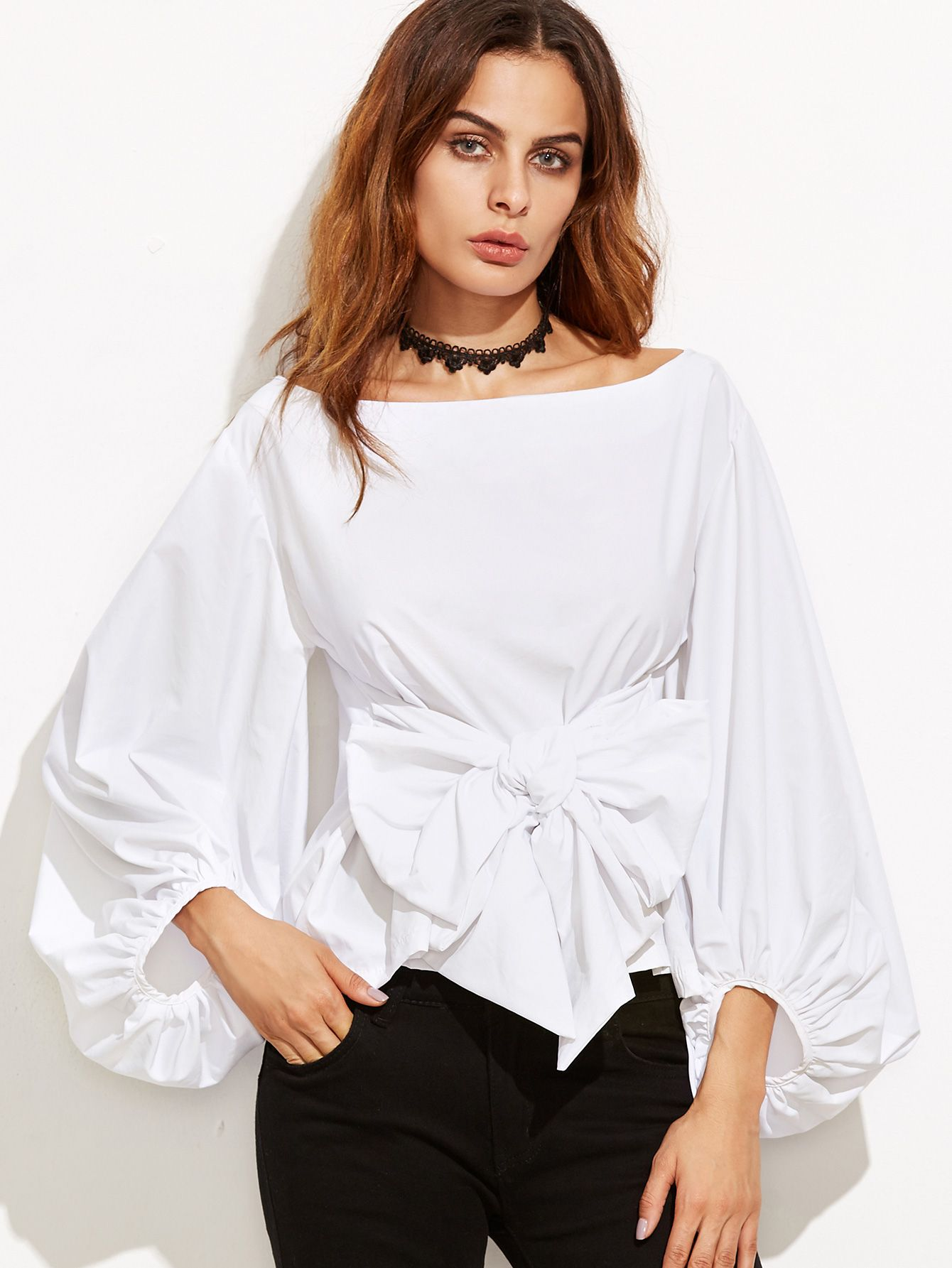 d08825d39feecf Shop White Lantern Sleeve Top With Bow online. SheIn offers White Lantern Sleeve  Top With Bow & more to fit your fashionable needs.
