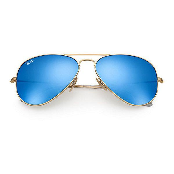 1688eaf86ebd Ray-Ban Aviator Gold Sunglasses, Blue Flash Lenses - Rb3025 (315 BGN) ❤  liked on Polyvore featuring accessories, eyewear, sunglasses, blue aviator  ...