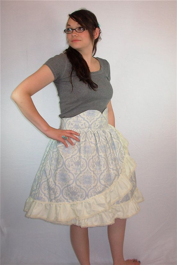 Blue and Cream Fancy Wrap Skirt by CuteStorm, $99.00