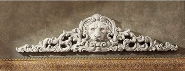 Wall Pediment From Toscano Remoulage Lion Antique Stone