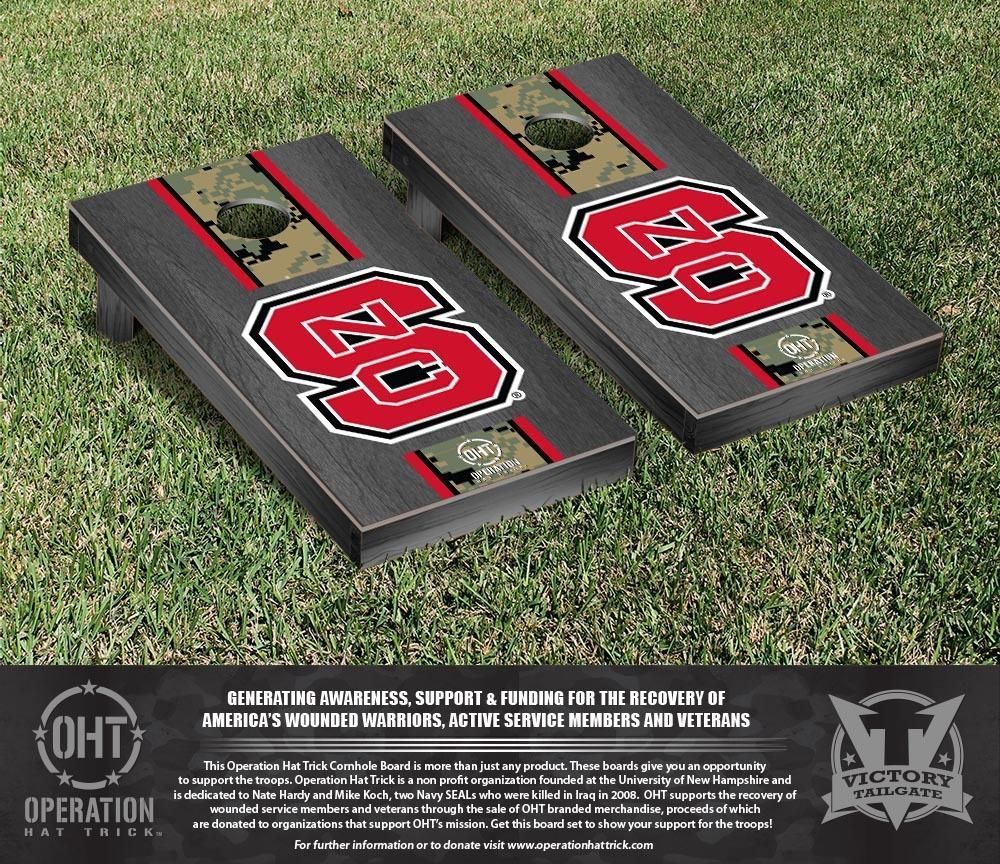 NC State Wolfpack Operation Hat Trick Camo w/ Stripe Bag Toss Set