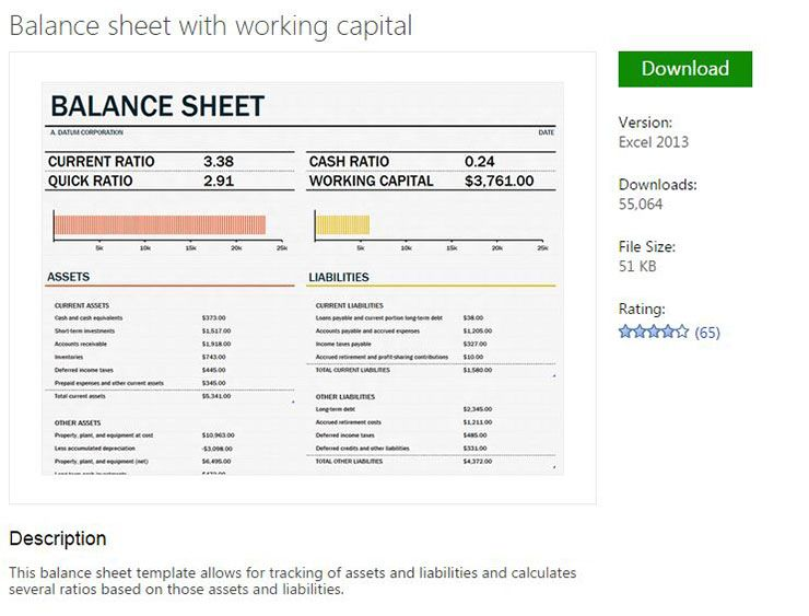 Balance sheet template from MS Excel Pinterest Balance sheet - accounting balance sheet template