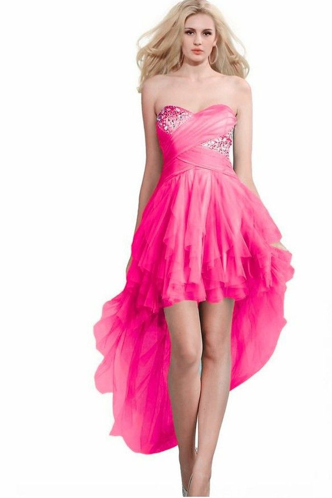 Cute Strapless High Low Hot Pink Tulle Ruffle Prom Dress | hot pink ...