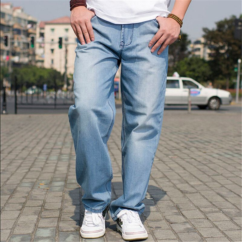 Quality Denim Jean Men Plus Size Hip-Hop Loose Baggy Design Blue ...