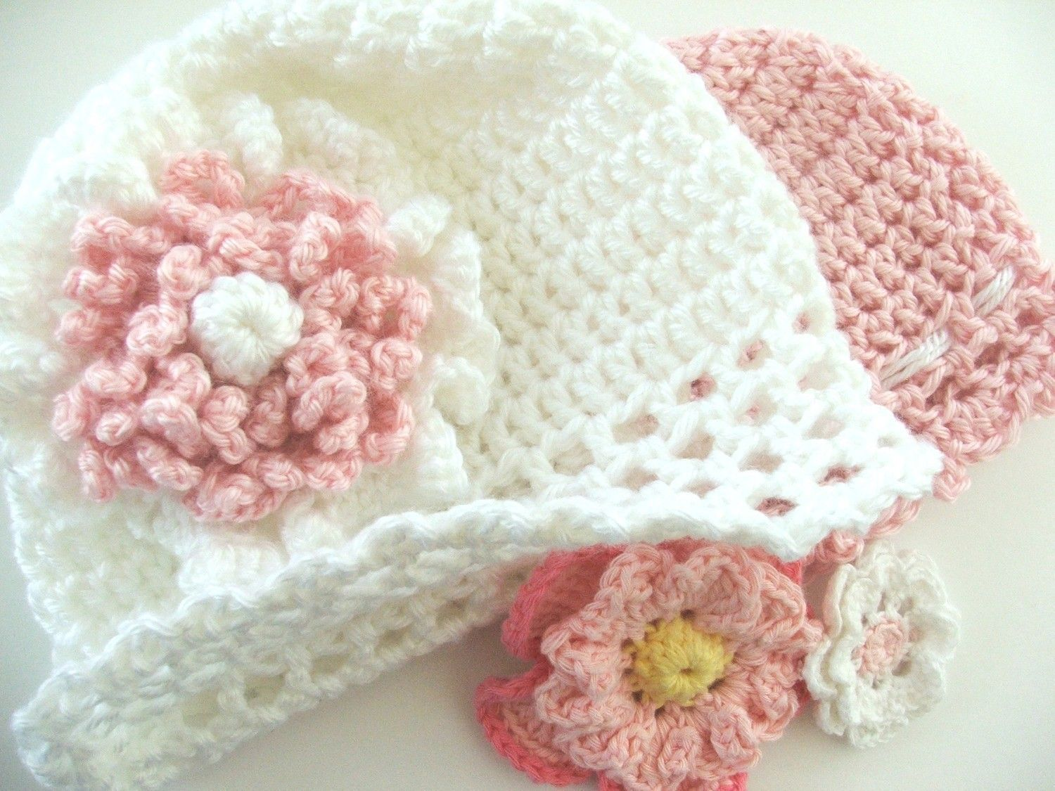 PATTERN - Fast and Easy CROCHET PATTERN Baby Cap with Flowers ...