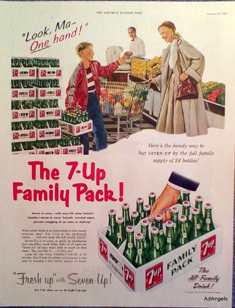 """1953 7Up ad. 13.50"""" X 10.25"""". Excellent condition, light"""