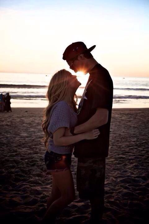 Cute Couple Love Beach  Sunset Boy and girl Relationship Together