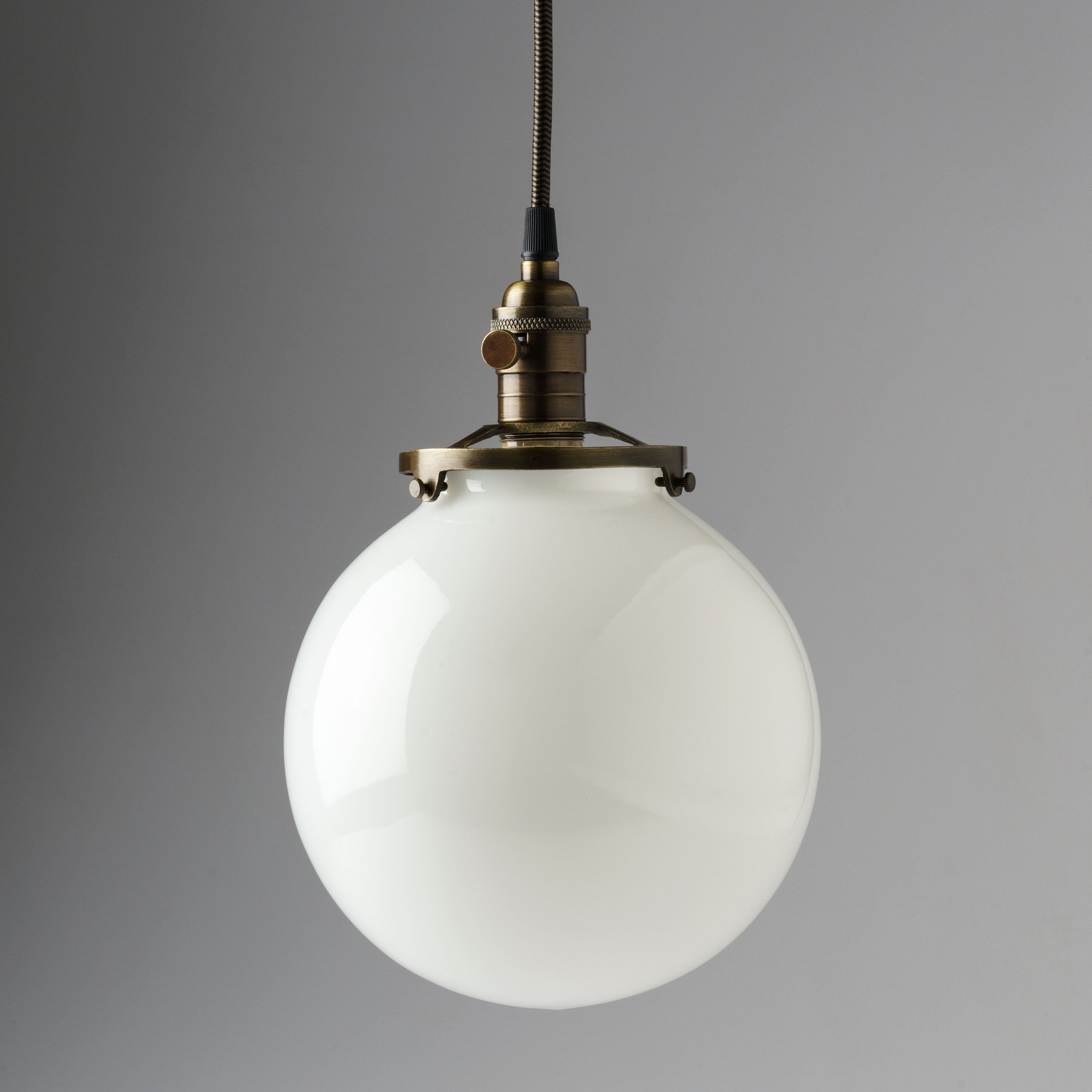 White glass globe pendant light fixture with
