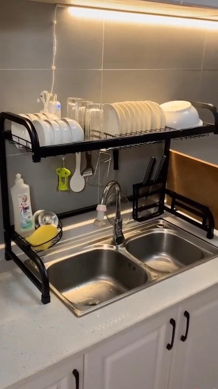 Photo of Kitchen Dish Rack, Dish and Drainboard Set Rack Over the Sink Stainless Steel Dish Storage