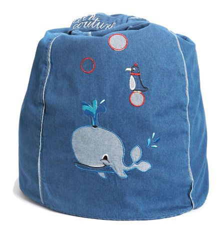 Mr Whale Denim Bean Bag  from cocooncouture.com