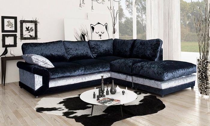 Lucia Velvet Corner Sofa With Matching Footstool In Choice Of Colour For £479 With Free Delivery (60% Off) | Velvet Corner Sofa, Crushed Velvet Sofa, Corner Sofa