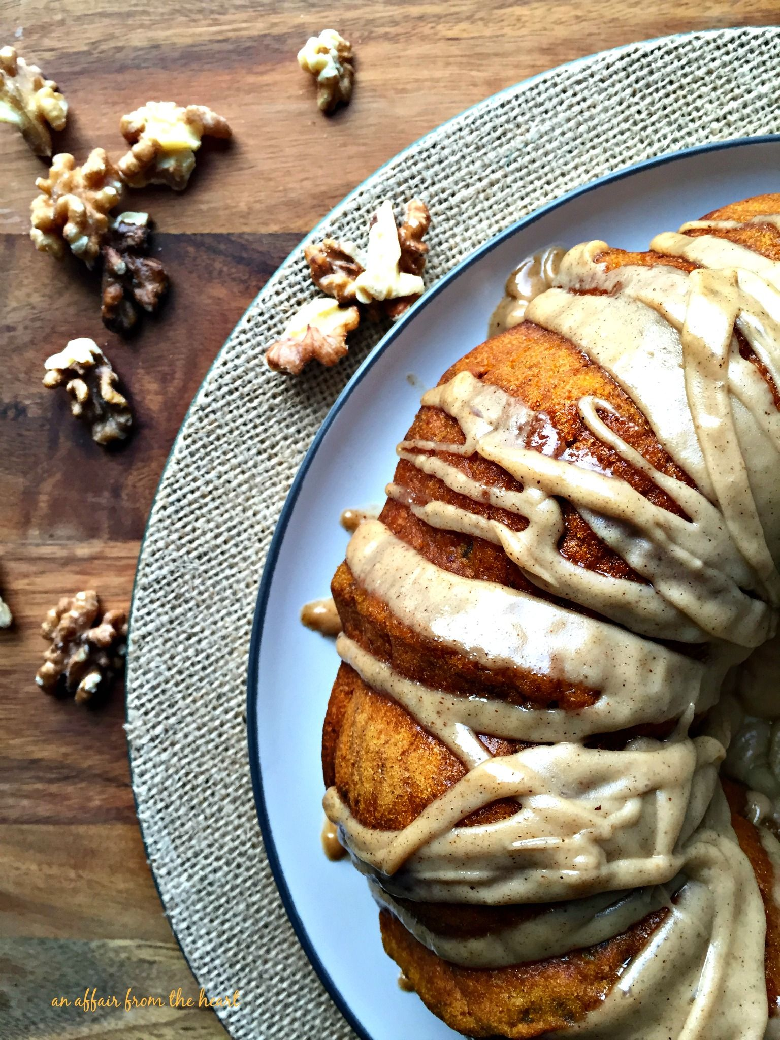 Pumpkin Spiced Coffee Cake with Brown Butter Glaze