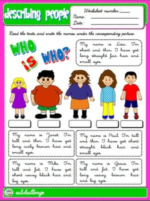 English Step By Step 3rd Graders Teach English Step By Step Adjectives To Describe People Worksheets For Kids English Worksheets For Kids