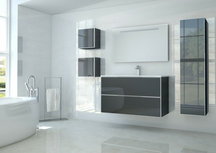 Mobile bagno sospeso grigio laccato piastrelle bagni moderni vasca