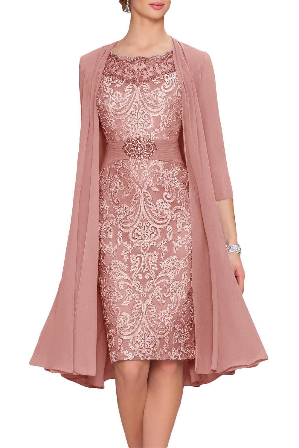 Cute Dusty Rose Chiffon Mother Of The Bride Dresses Tea Length Two Pieces With Jacket Velvet Wedding Dress Tea Length Dresses White Long Dress Formal