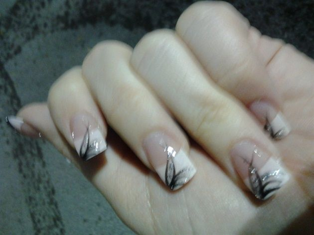 Black Silver Line Design On White Tip nails - NailArting.com Nail Art Designs Nail Art Ideas Providing
