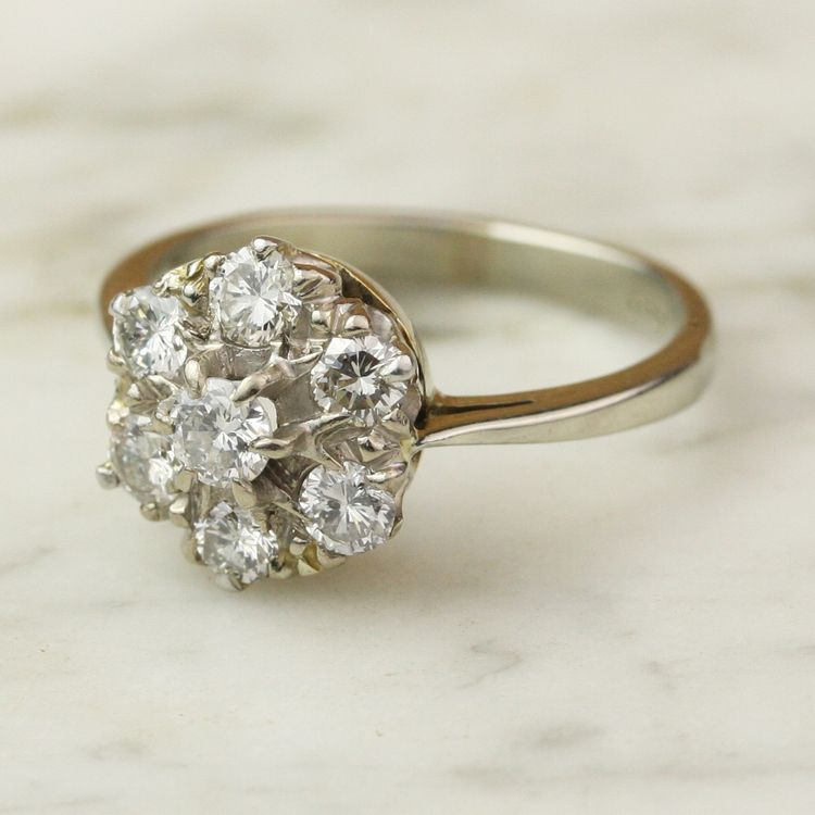 Vintage 95 Carat Diamond Flower Cluster Engagement Ring In 18k White Gold
