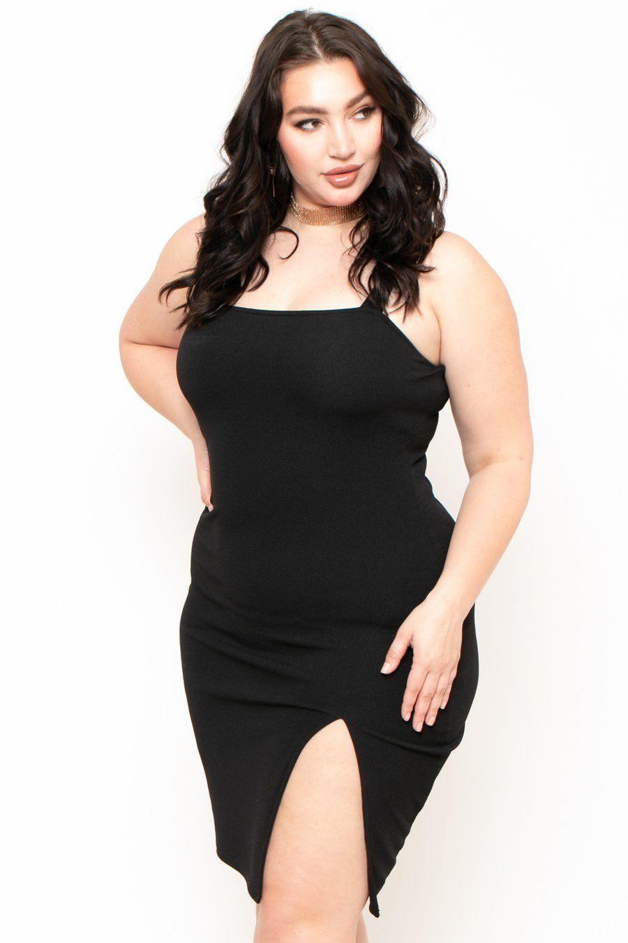 Plus Size Melanie Shoulder Strap Midi Dress Black in