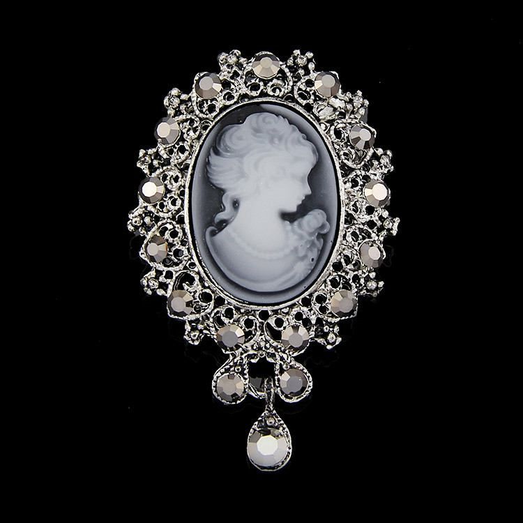 Cameo Antique Cameo with Rhinestone Opal Brooch