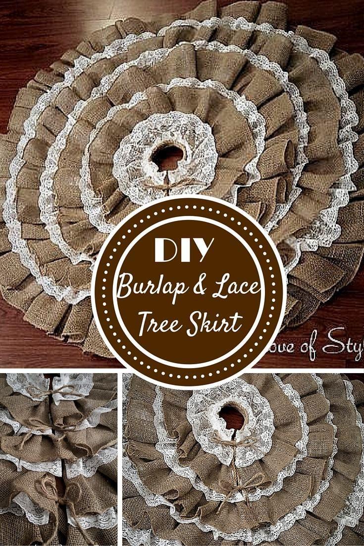 DIY No Sew Burlap And Lace Christmas Tree Skirt