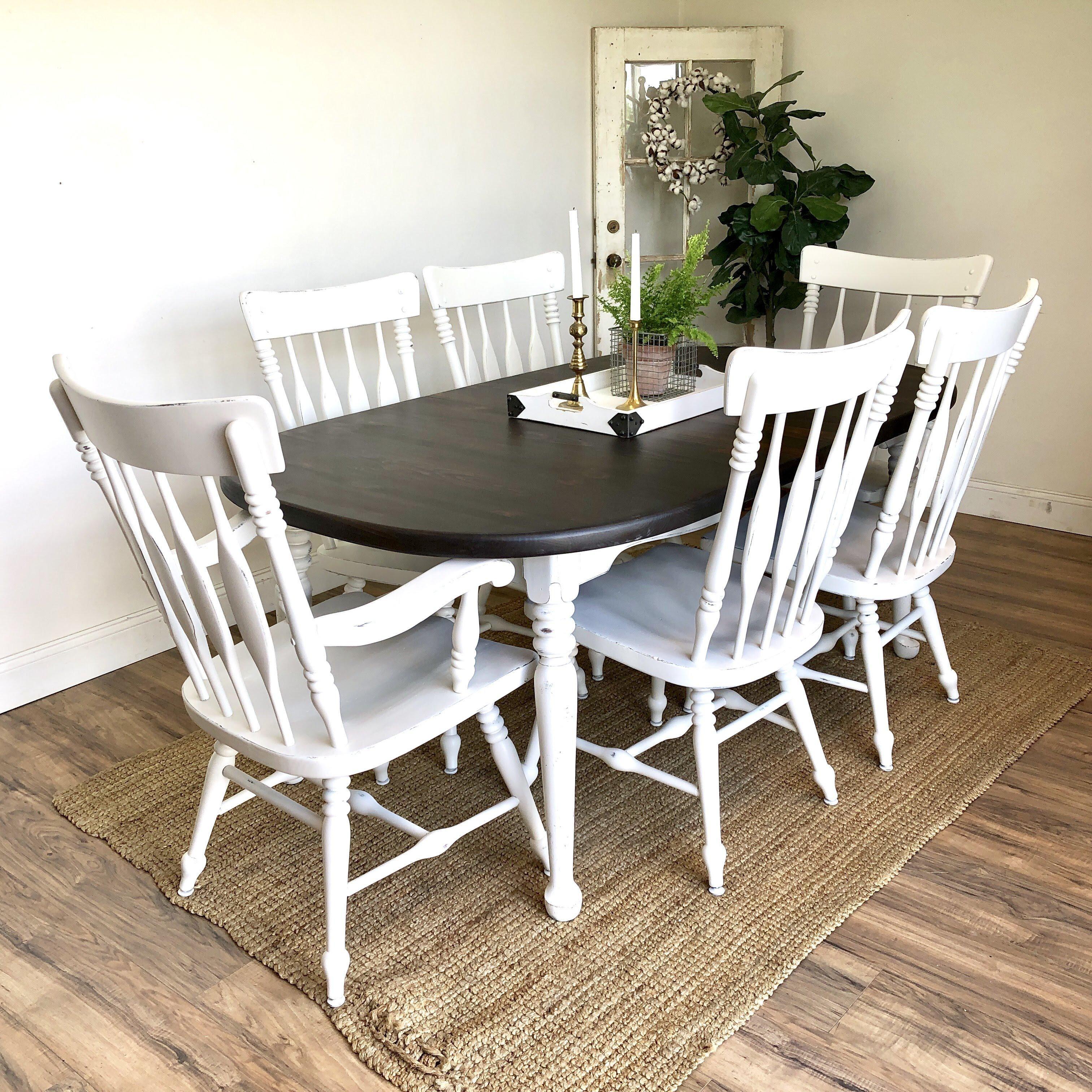 Farmhouse Table Set White Distressed Furniture on