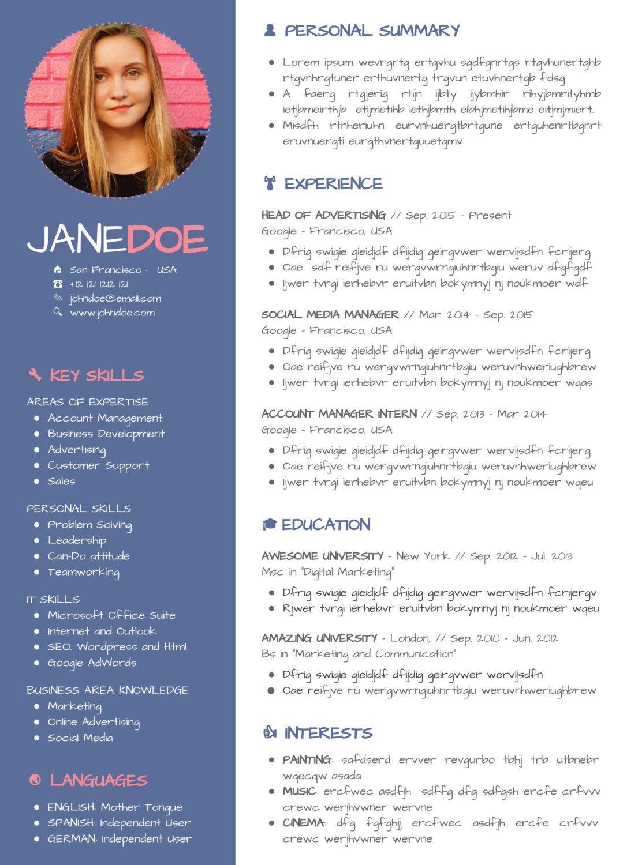 Creative Resume Template Design Marketing CV Design Etsy