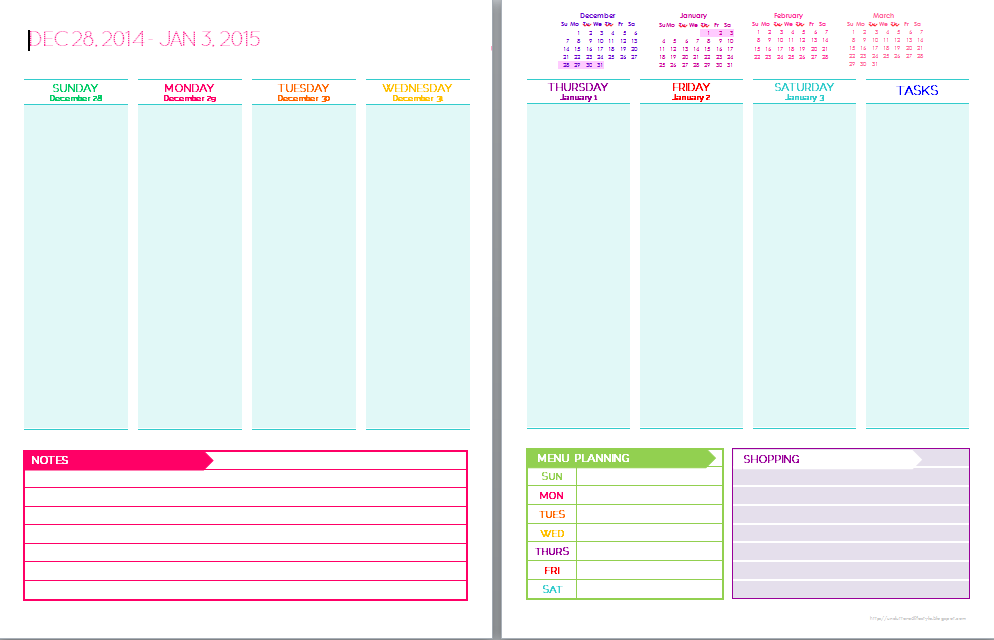 2015 free printable weekly planner templates list printable