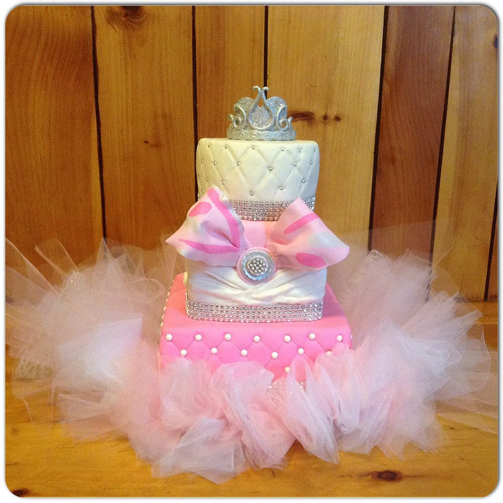 Winter Wonderland Baby Shower Cake  Tulle Tutu, Edible Princess Tiara, Bow  And Quilted