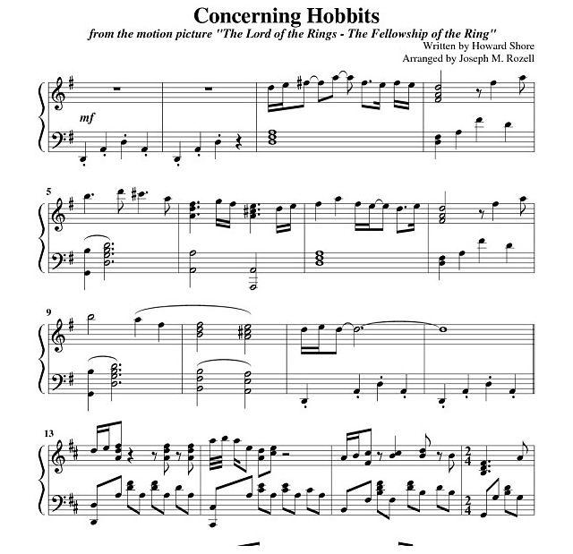 Concerning Hobbits Piano Music